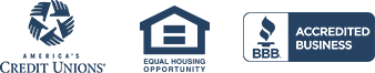 America's Credit Unions, Equal Opportunity Housing, BBB Accredited Business Badge
